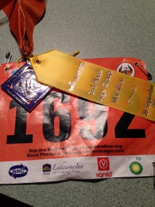 Bellingham Bay Marathon, Finisher Medal and 4th place ribbon (in my age group)