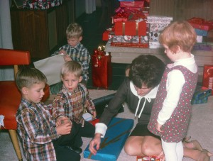 That's me on the right, checking out my cousins' presents